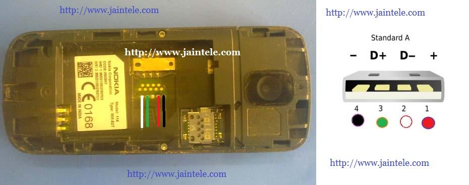 Nokia 110, 112, 114 USB Pin Out