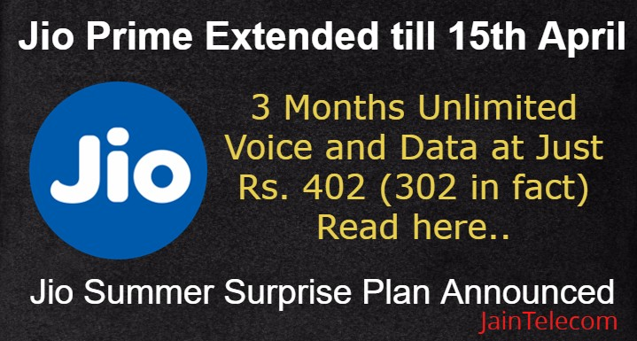 Jio Prime Extended till 15th April + Jio Summer Surprise Plan Announced
